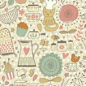 Funny childish seamless pattern with bee, bird, cat, hearts, kitchen elements in vector. Seamless pa
