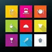 Flat restaurant icon set - vector illustration