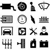 stock photo of wiper  - Car repair shop and mechanic icon set in black - JPG