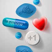 Social media addiction, pills capsules isolated