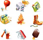 Vector cartoon style icon set. Part 3. Traveling