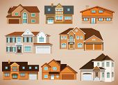 image of victorian houses  - Vector illustration of city houses  - JPG
