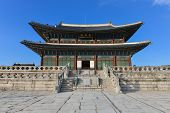 stock photo of seoul south korea  - The beautiful Gyeongbokgung palace in Seoul Korea - JPG