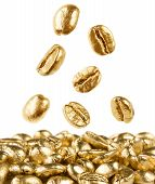 Gold Coffee Beans Falling Down