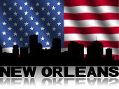 New Orleans skyline and text reflected with rippled American flag illustration