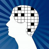 image of brain-teaser  - profile of  male with crossword as brain   - JPG