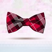 stock photo of vaudeville  - Vector Illustration of  Red Tartan bow - JPG