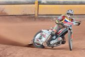 EGGENDORF,  AUSTRIA - APRIL 28 Denis Stojs (#15 Slovenia) wins the Austrian speedway championship on
