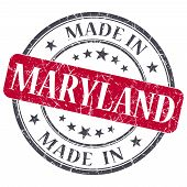 Made In Maryland Red Round Grunge Isolated Stamp