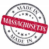 Made In Massachusetts Red Round Grunge Isolated Stamp