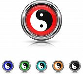 Ying Yang Icon - Six Colors Vector Set