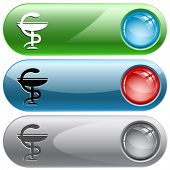 Pharma symbol. Internet buttons. Raster illustration.