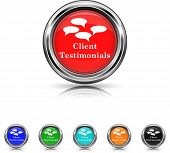 Client Testimonials Icon - Six Colors Vector Set
