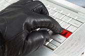 Online Spy Ware Concept With Hand Wearing Black Leather Glove Pressing Enter Key