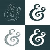 Custom decoration ampersand. This typographic symbol can used as the decorative element for wedding
