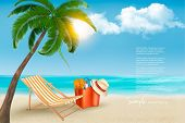 Seaside view with a palm tree, beach bag and a hat . Summer vacation concept background. Vector.