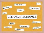 Corporate Governance Corkboard Word Concept