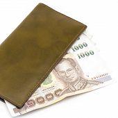Thai Banknote In Brown Wallet