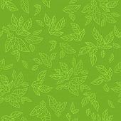 Green seamless pattern. Eco background. Raster version.