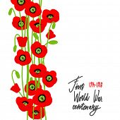 Red poppies. Symbol of the fallen. Place for text