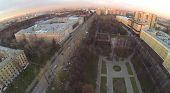 Urban landscape with the Catherine Palace and park in autumn at sunset, aerial view