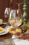 Fall Dining Table With Focus On Wine Glass