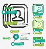 Vector minimal contact book or note paper infographic. Keyword tag clouds and schemes made of stickers