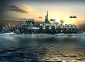 stock photo of fiction  - Science fiction city with metallic ring structures on water and hoovering aircrafts in sunset for futuristic or fantasy backgrounds - JPG