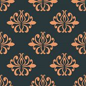Retro seamless pattern with orange flowers