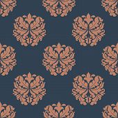 Brown colored on indigo floral seamless pattern