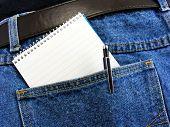 Notebook in jeans pocket