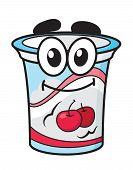 Cherry yoghurt, milk or cream cartoon character