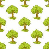 Green tree seamless background pattern