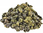 Heap pile of Jin Xuan Oolong Tea with milk flavor (Tea Bao Chao Nai Xiang), isolated on white background