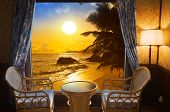 picture of beach-house  - Hotel room and beach landscape  - JPG