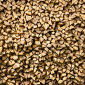 Stack of dry firewood texture