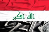 Iraq Flag On A Silk Drape Waving