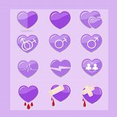 12 Set Of Purple Hearts Icon