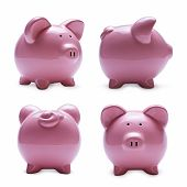 Porcelain Piggy Banks In Four Different Positions