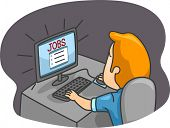 Illustration Featuring a Man Searching for Jobs Online