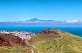 views of Mount Teide from the island of La Gomera