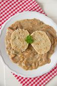 picture of chanterelle mushroom  - German Bread Dumplings with chanterelle mushroom sauce - JPG
