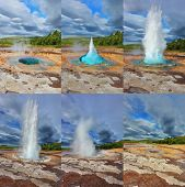 Geyser Strokkur in Iceland. Fountain Geyser throws hot water every few minutes. Collage showing diff