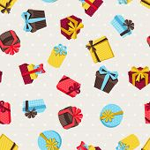 Seamless celebration pattern with colorful gift boxes.