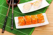 Sushi maki and shrimp sushi on bamboo mat