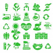 stock photo of dustbin  - Set of green silhouette vector icons of ecology theme - JPG