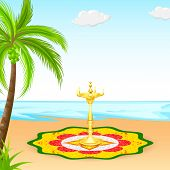 foto of pookolam  - easy to edit vector illustration of Happy Onam background - JPG