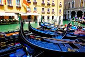 Venice, Italy - June 16: The Parked Gondolas Are On Water Channel On June 16, 2014 In Venice, Italy.