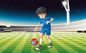 Illustration of a boy at the field using the ball with the flag of Norway