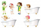 Illustration of the kids taking a bath on a white background